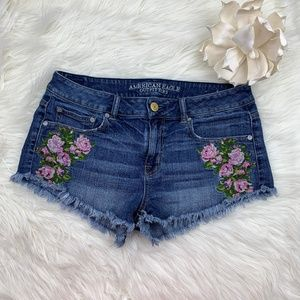 American Eagle Embroidered Cut Off Denim Shorts